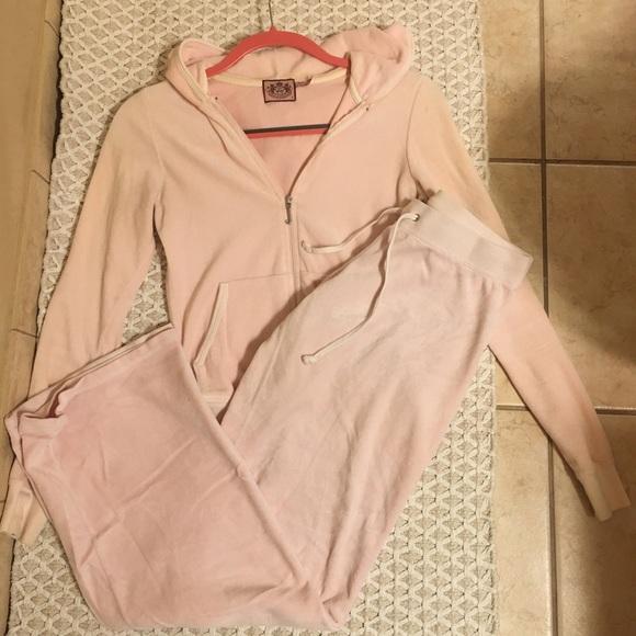 Juicy Couture Pants Jumpsuits Light Pink Velour Sweatsuit Poshmark